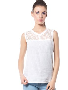 Meira Cotton Solid Top - White - MEWT-1165-B