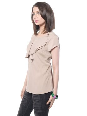 Meira Poly Crepe Solid-Top - Beige - MEWT-1174-A