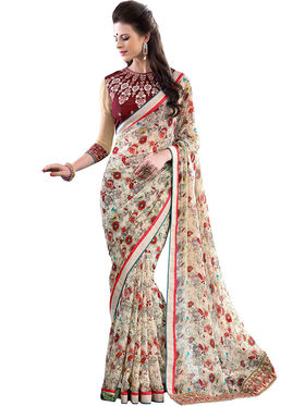 Nanda Silk Mills Designer Printed Georgette Sarees With Embroidered Blouse Piece  _MK-2003