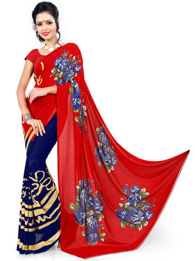 Nanda Silk Mills Fancy Latest Printed Excluesive Georgette Saree With Unstitch Blouse _MK-Crystle-1018