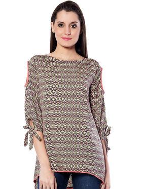Meira Printed Poly Crepe Women's Dress - Multicolour _ MEWT-1151-Multi