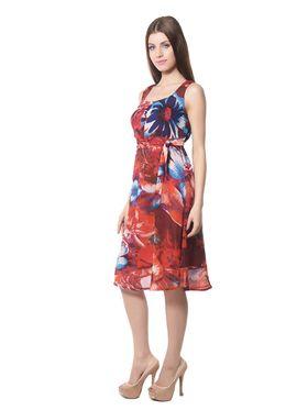 Meira Printed Chiffon Women's Dress - Multicolour _ MEWT-1022-Multi