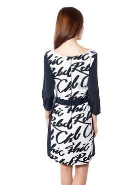 Meira Printed Crepe Women's Dress - Black _ MEWT-1130-B-Black