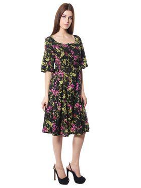 Meira Printed Crepe Women's Dress - Black _ MEWT-1196-C-Black