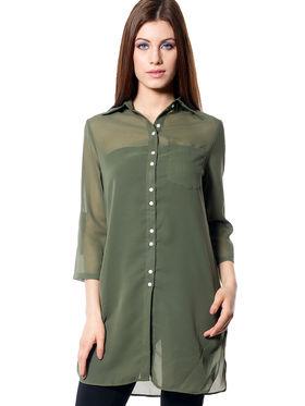 Meira Plain Georgette Shirt _ MEWT-1182-A - Leaf Green