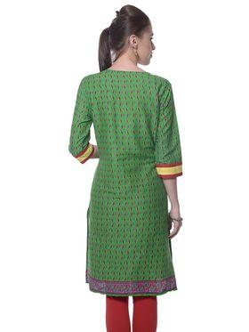 Meira Cotton Plain Kurti - Green - MEKUR-2031-A-Green