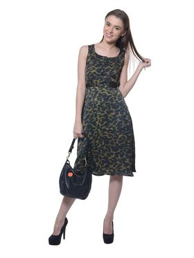Meira Poly Crepe Printed Dress - Multicolor - MEWT-1022-S-Multi
