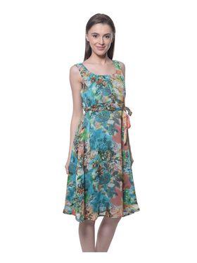 Meira Chiffon Printed Dress - Multicolor - MEWT-1022-V-Multi