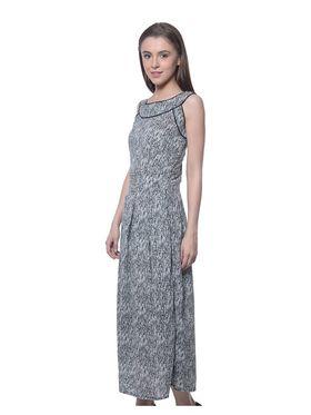 Meira Poly Crepe Printed Dress - Black - MEWT-1203-Black
