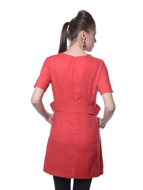 Meira Rayon Plain Dress - Red - MEWT-1209-A-Red
