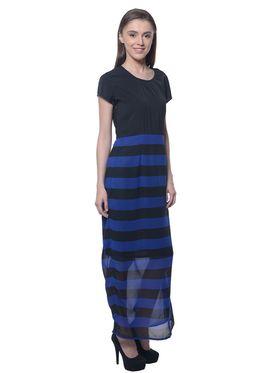 Meira Georgette Plain Dress - Blue & Black - MEWT-1217-Blue&Black