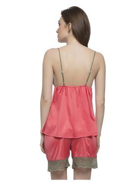 Clovia Polysatin And Nylon Lace Nightwear -NS0340P23