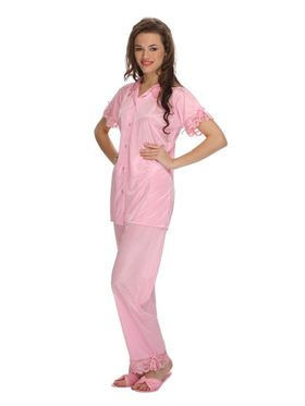 Clovia Satin Solid Top & Pyjama Set -NS0559P22