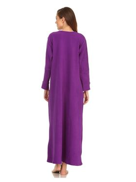 Clovia Blended Wool  Fleece Solid Long Nighty -NS0570P15