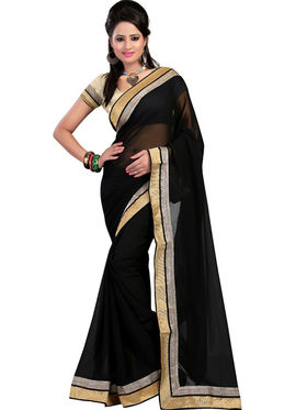 Nanda Silk Mills Chiffon Embroidered Saree - Black - jai-ho-13 BLACK-A