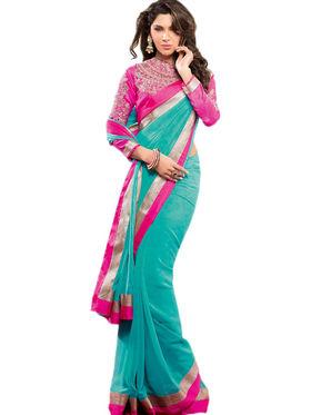 Nanda Silk Mills Faux Georgette Plain Saree - Green - JODHA-AKBAR-BLUE-21