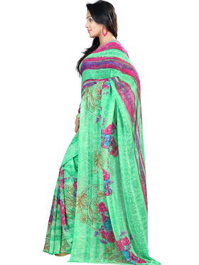 Nanda Silk Mills Faux Georgette Printed Saree - Green - NSM08