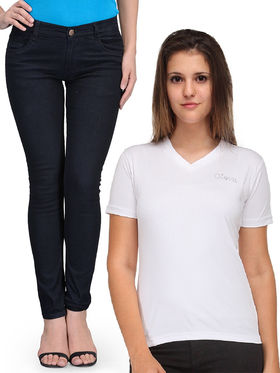 Oleva Combo Of  2 Black Denim  And White T-Shirt  ONC-05