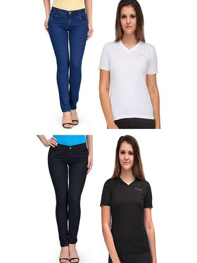 Oleva Combo Of 4 Blue & Black Denim+ Black & White_T-Shirt ONC-46