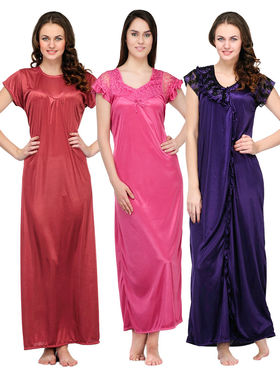 Set of 3 Oleva Satin Printed Nightwear - OHD 54