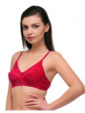 Oleva Cotton Printed Bra - Red
