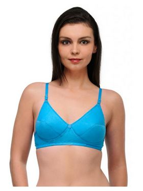 Oleva Cotton Plain Bra - Blue