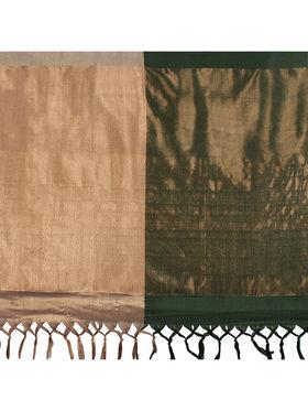 Nanda Silk Mills Handloom Green & Gold Plain Cotton Silk Saree -nad07