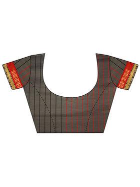 Nanda Silk Mills Handloom Grey & Gold Plain Cotton Silk Saree -nad18