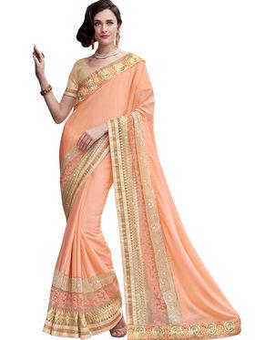 Indian Women Satin Chiffon  Saree -Ra10516