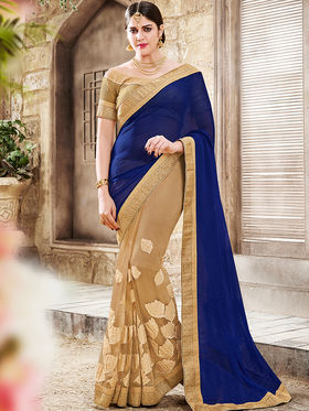 Indian Women Embroidered Moss Chiffon Blue & Beige Saree -Ra21018