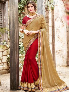 Indian Women Embroidered Jacquard Beige & Maroon Saree -Ra21021