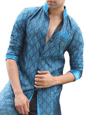 Runako Regular Fit Elegant Silk Brocade Sherwani For Men - Blue_RK1056