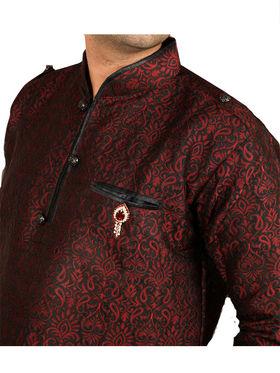Runako Regular Fit Silk Brocade Kurta Pyjama For Men - Maroon_RK4023