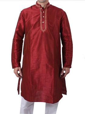 Runako Regular Fit Silk Brocade Kurta Pyjama For Men - Maroon_RK40822