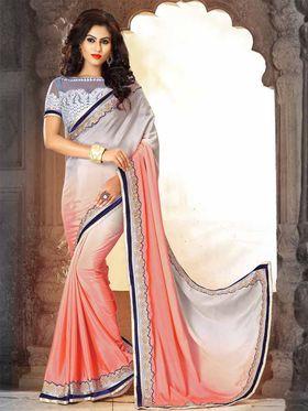 Viva N Diva Pure Satin Silk Floral Embroidery Saree -Riwaaz-Again-9007