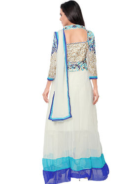 Florence Georgette Embroidered Semi-Stitched Dress Material  Sb-3180