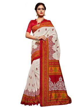 Shonaya Printed White & Red Bhagalpuri Art Silk Saree SCBGP-01