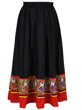 Amore Plain Cotton Embellished Skirt -Skv113Bk