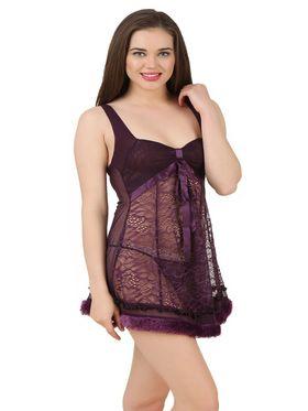 Fasense Power Net Solid Nightwear Babydoll Slip -SS079A2