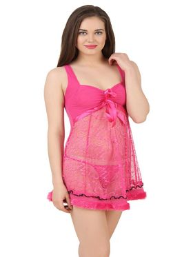 Fasense Power Net Solid Nightwear Babydoll Slip -SS079C2