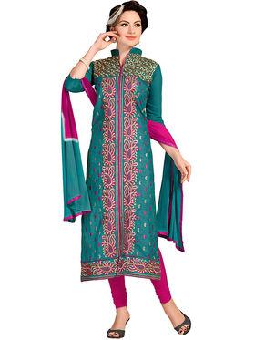 Khushali Fashion Chanderi Embroidered Dress Material -Ssblfr1008