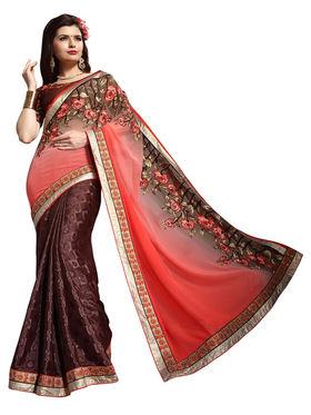Khushali Fashion Jacquard Embroidered & Embellished Saree -Stpnhr10006