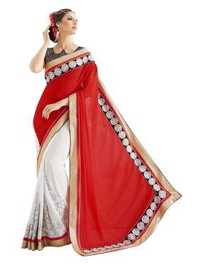 Khushali Fashion Embroidered Georgette Half & Half Saree_KF68