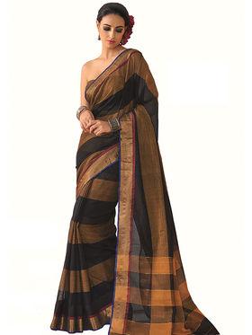 Nanda Silk Mills Plain Cotton Multi Color Saree -Senna
