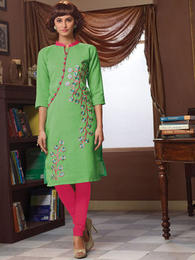 Viva N Diva Poly Linen Floral Embroidery Kurtis -Senorita-Again-7546
