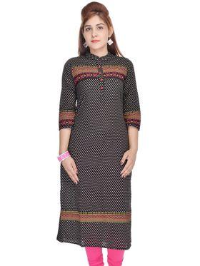 Shop Rajasthan 100% Pure Cotton Printed Kurti - Black - SRE2265
