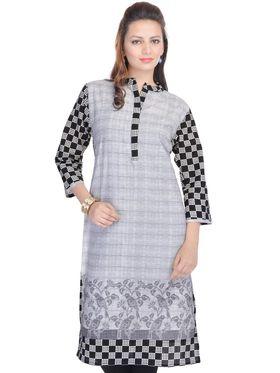 Shop Rajasthan 100% Pure Cotton Printed Kurti - Grey - SRE2290