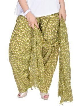 Shop Rajasthan 100% Pure Cotton Geometric Print Patiala Salwar - Light Green - SRI2010