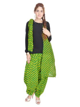 Shop Rajasthan 100% Pure Cotton Striped Patiala Salwar - Green and Yellow - SRI2023