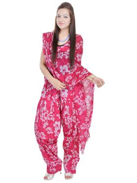 Shop Rajasthan 100% Pure Cotton Floral Print Patiala Salwar - Pink - SRI2082